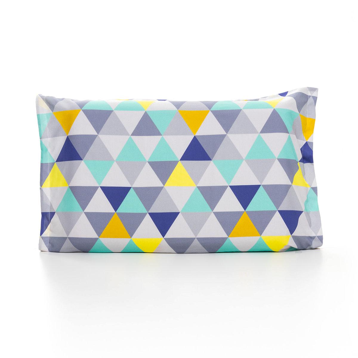 Fronha Triângulos Cinza, Azul, Turquesa E Amarelo