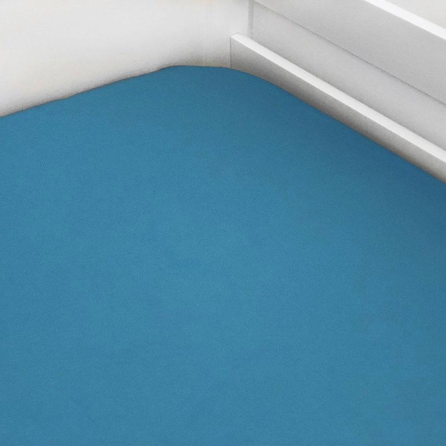Lençol De Elástico Liso Azul Piscina