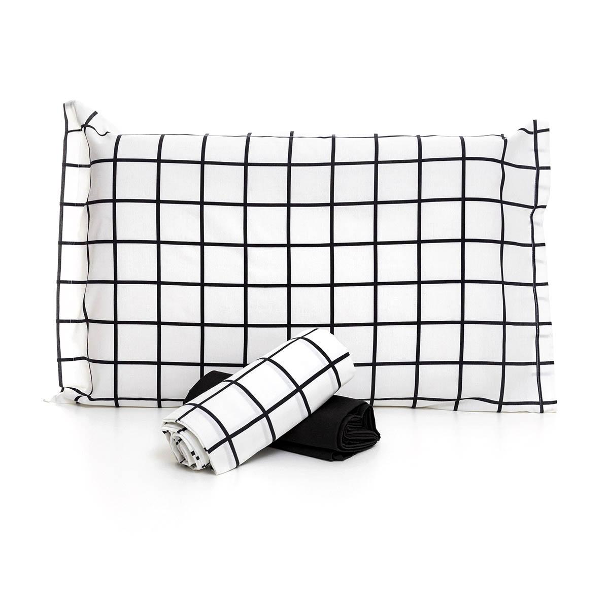 Jogo De Cama Quadriculado Grid Preto E Branco Com Lençol De Elástico Preto