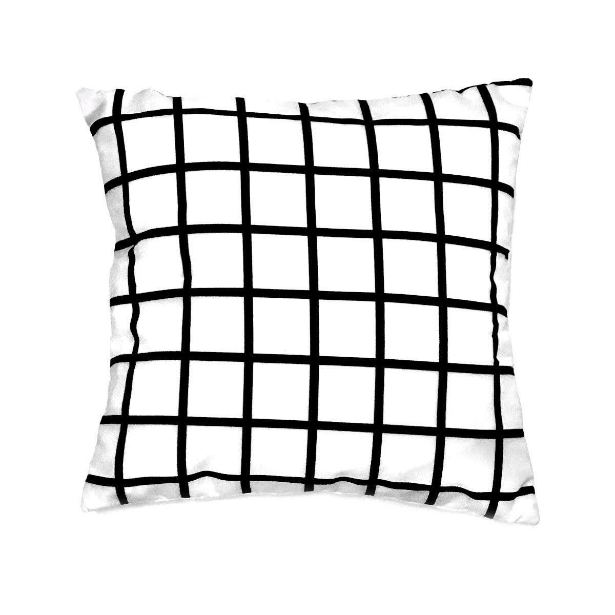 Capa De Almofada Quadriculado Grid Fundo Branco 40×40