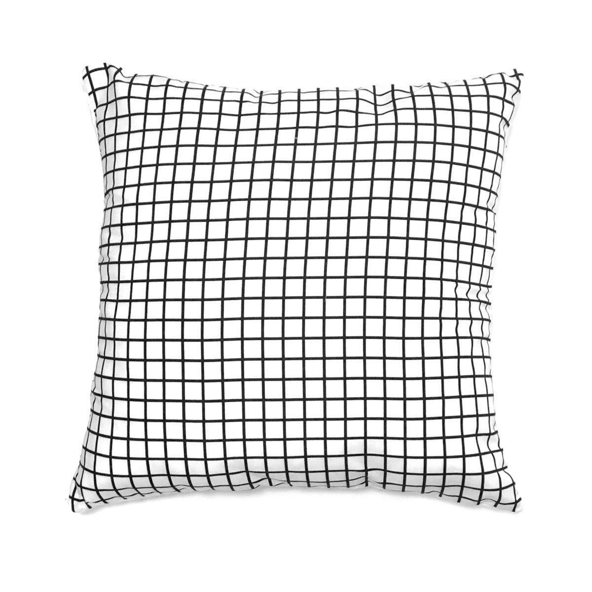 Capa De Almofada Quadriculado Grid P Branco