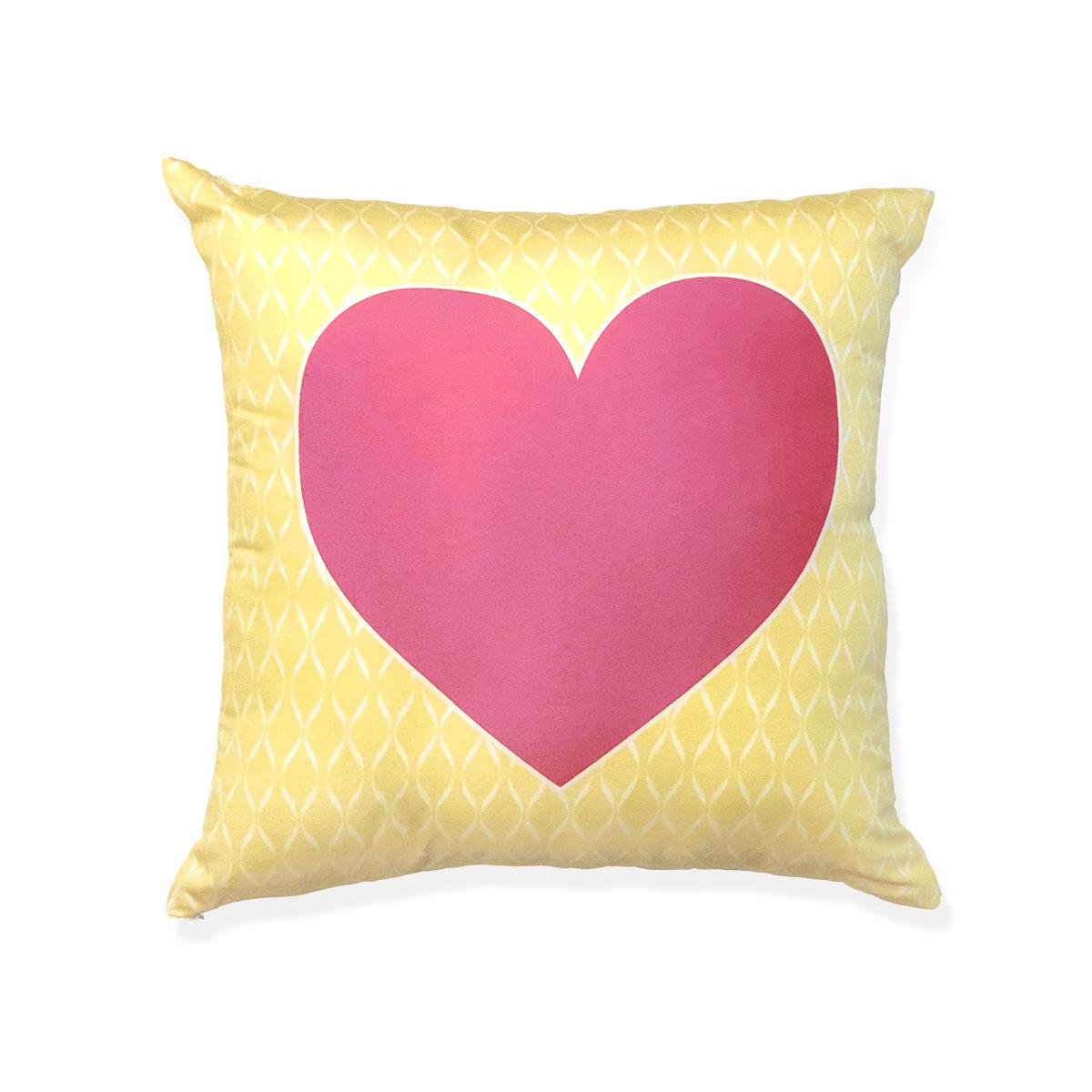 Capa De Almofada Coração Rosa E Amarelo