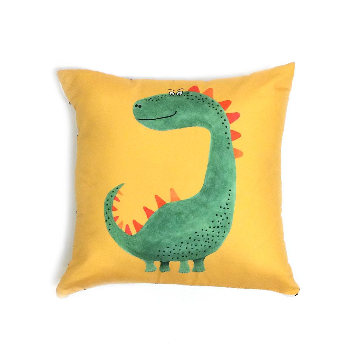 Capa De Almofada Dinossauro Verde E Amarelo, Costas Grid Preto E Branco