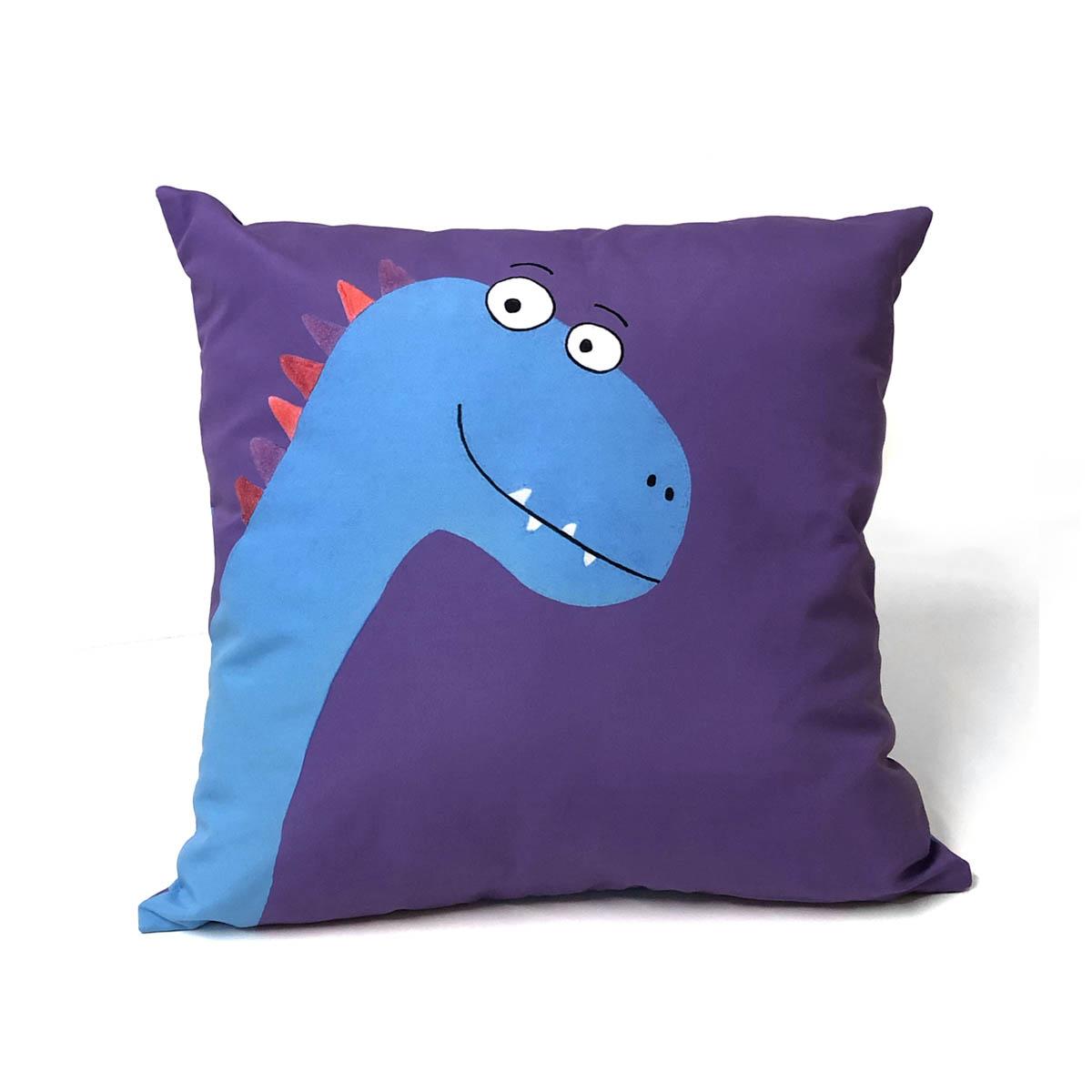 Capa De Almofada Dinossauro Roxo E Azul