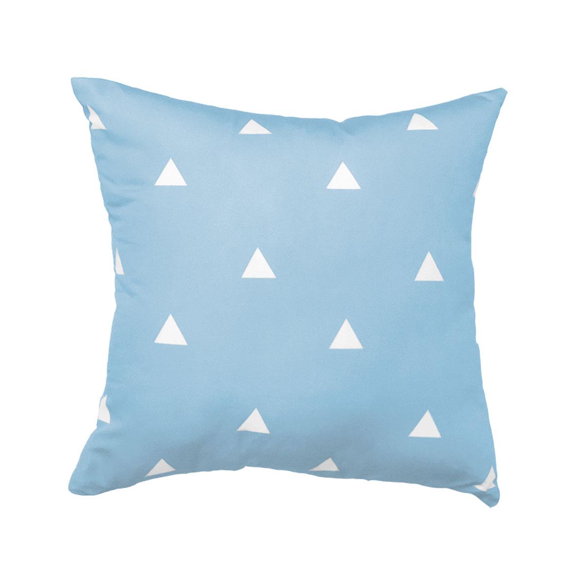 Capa De Almofada Triângulos Brancos Fundo Azul