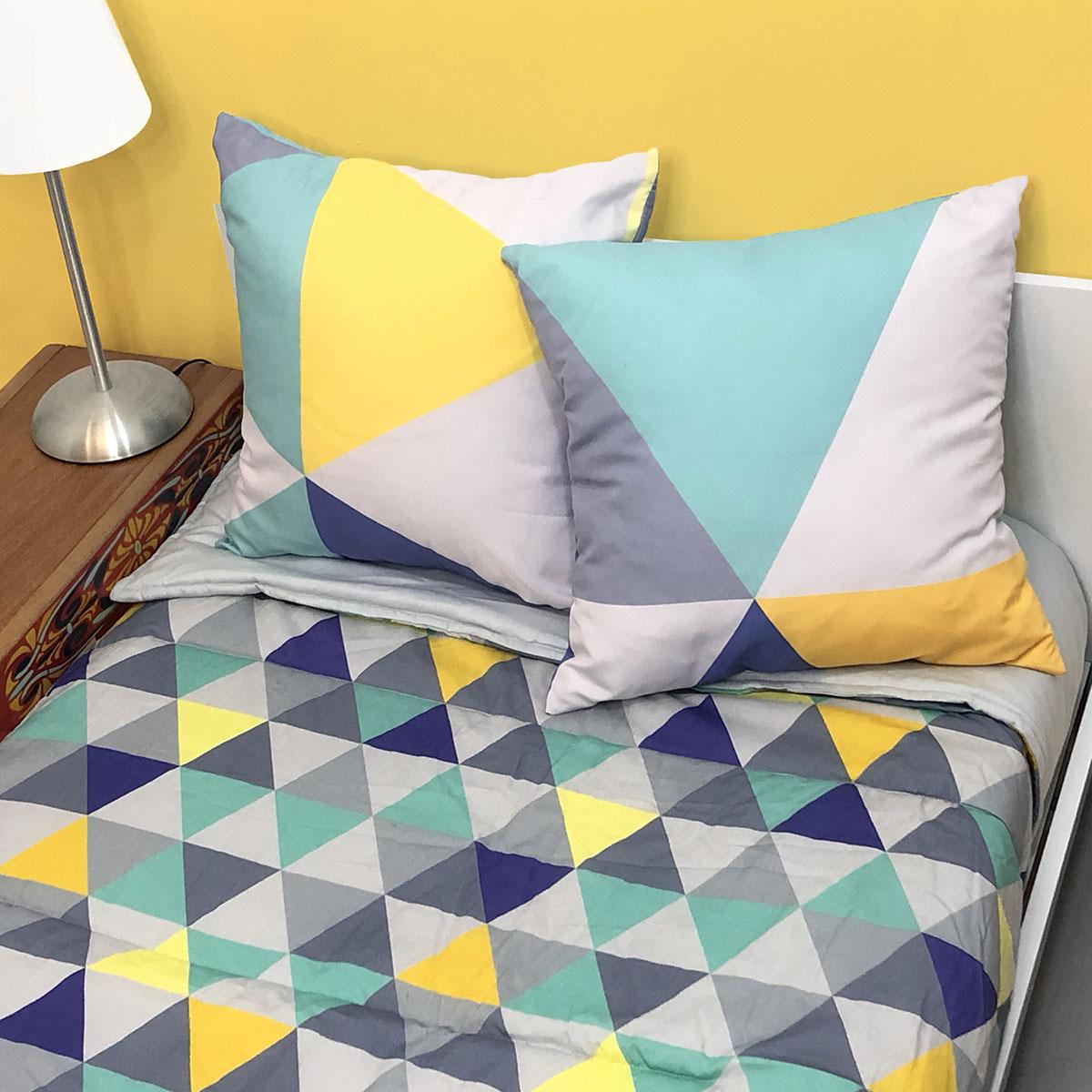 Edredom Triângulos Cinza, Amarelo, Marinho E Turquesa