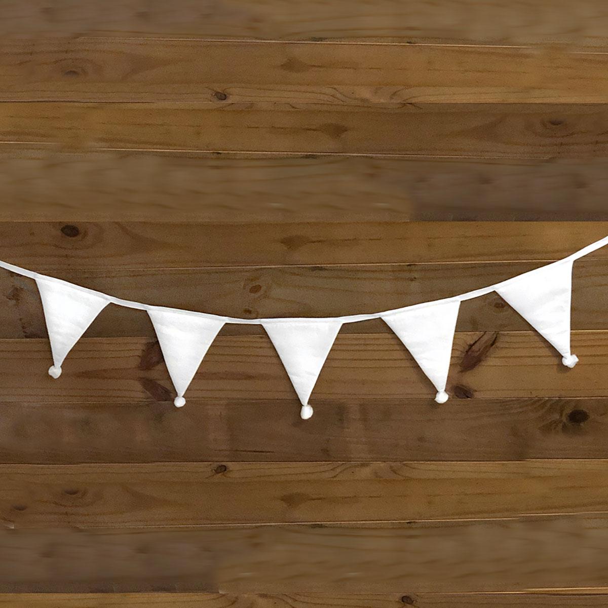 Bandeirola Branca Com Pompom