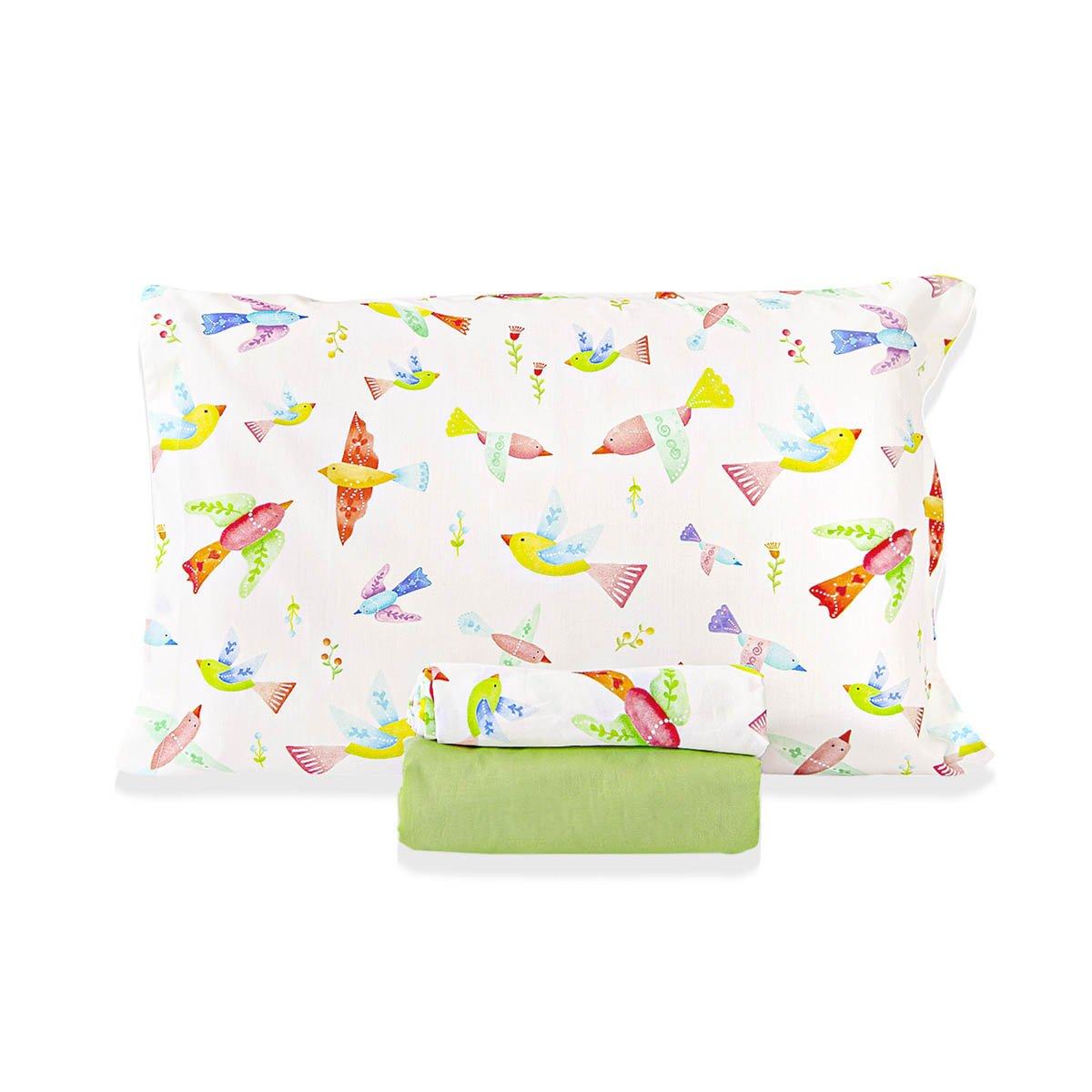 Jogo De Cama Pássaros Com Lençol De Elástico Verde Limão