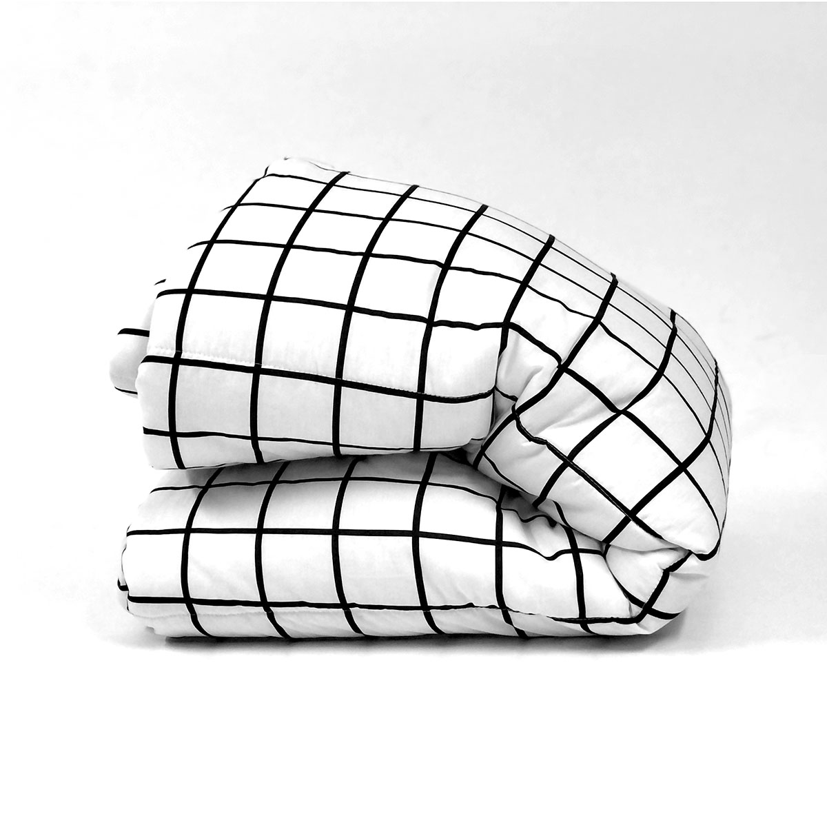 Edredom Quadriculado Grid Preto E Branco
