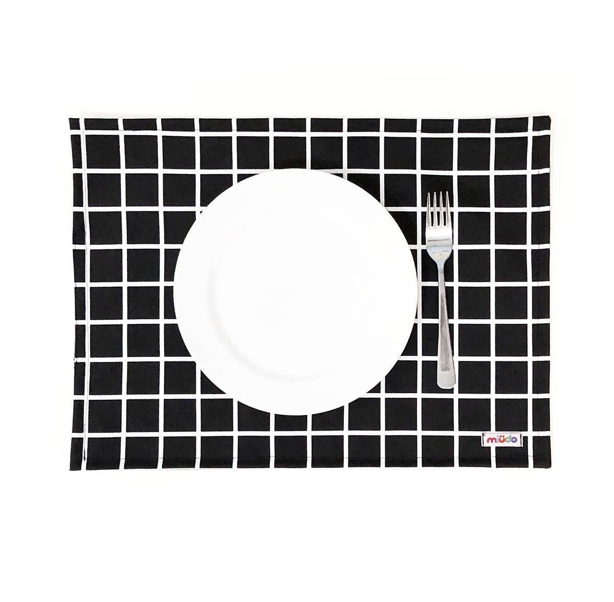 Jogo Americano Quadriculado Grid Preto E Branco