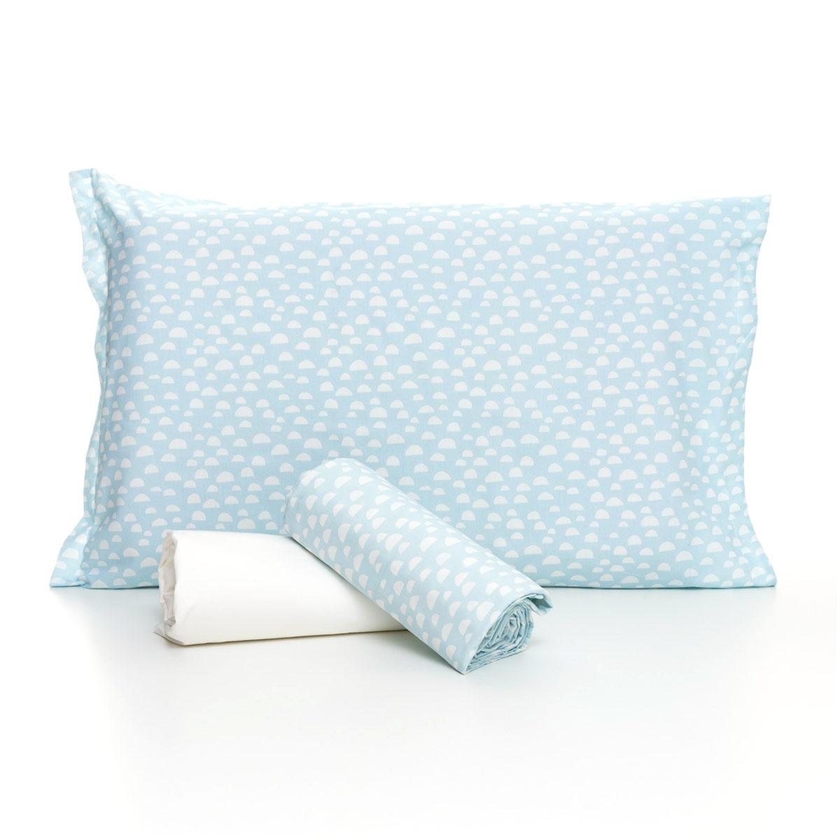 Jogo De Cama Iceberg Azul Claro Com Lençol De Elástico Off White