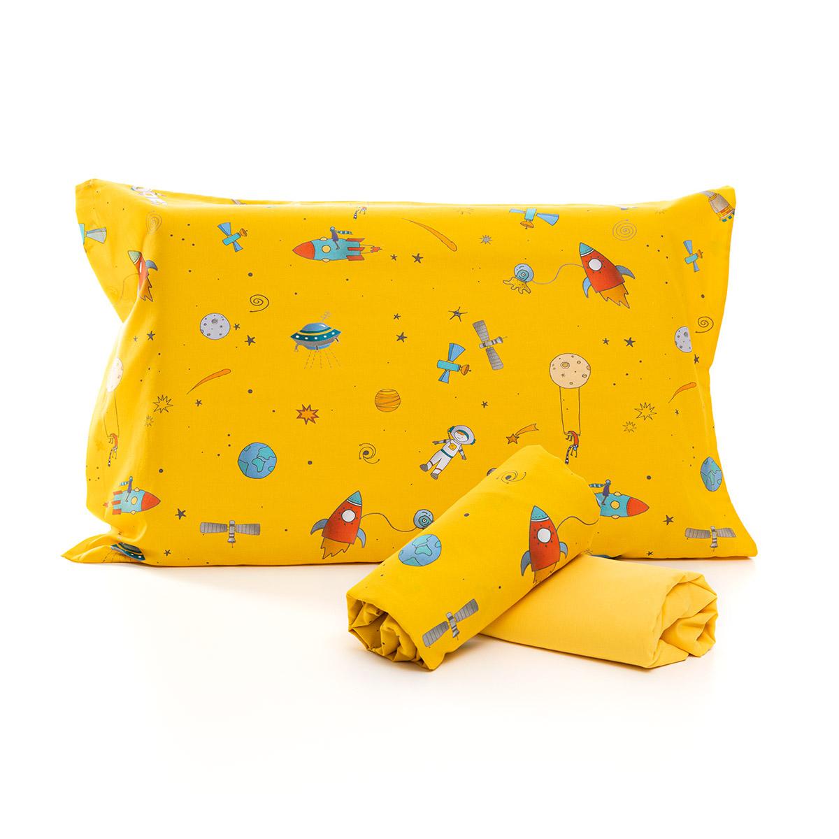 Jogo De Cama Espaço Amarelo Com Lençol De Elástico Amarelo