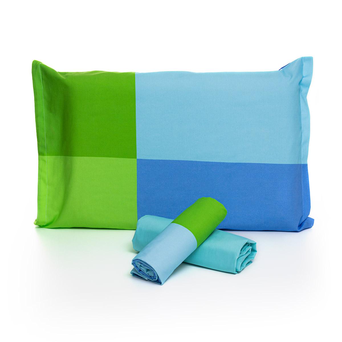 Jogo De Cama Quadrados Azul E Verde Com Lençol De Elástico Turquesa