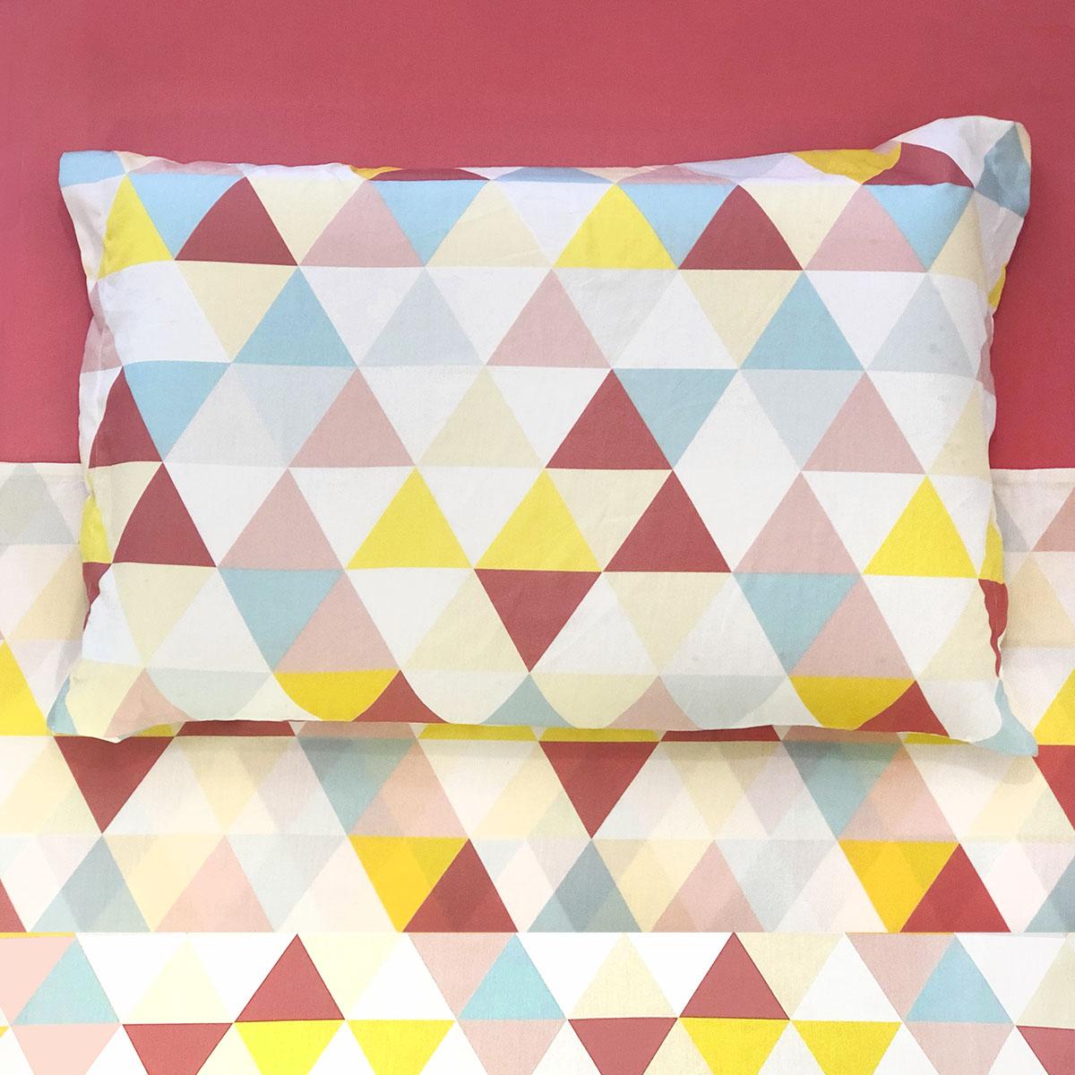 Lençol De Cima Triângulos Rosa, Amarelo E Azul