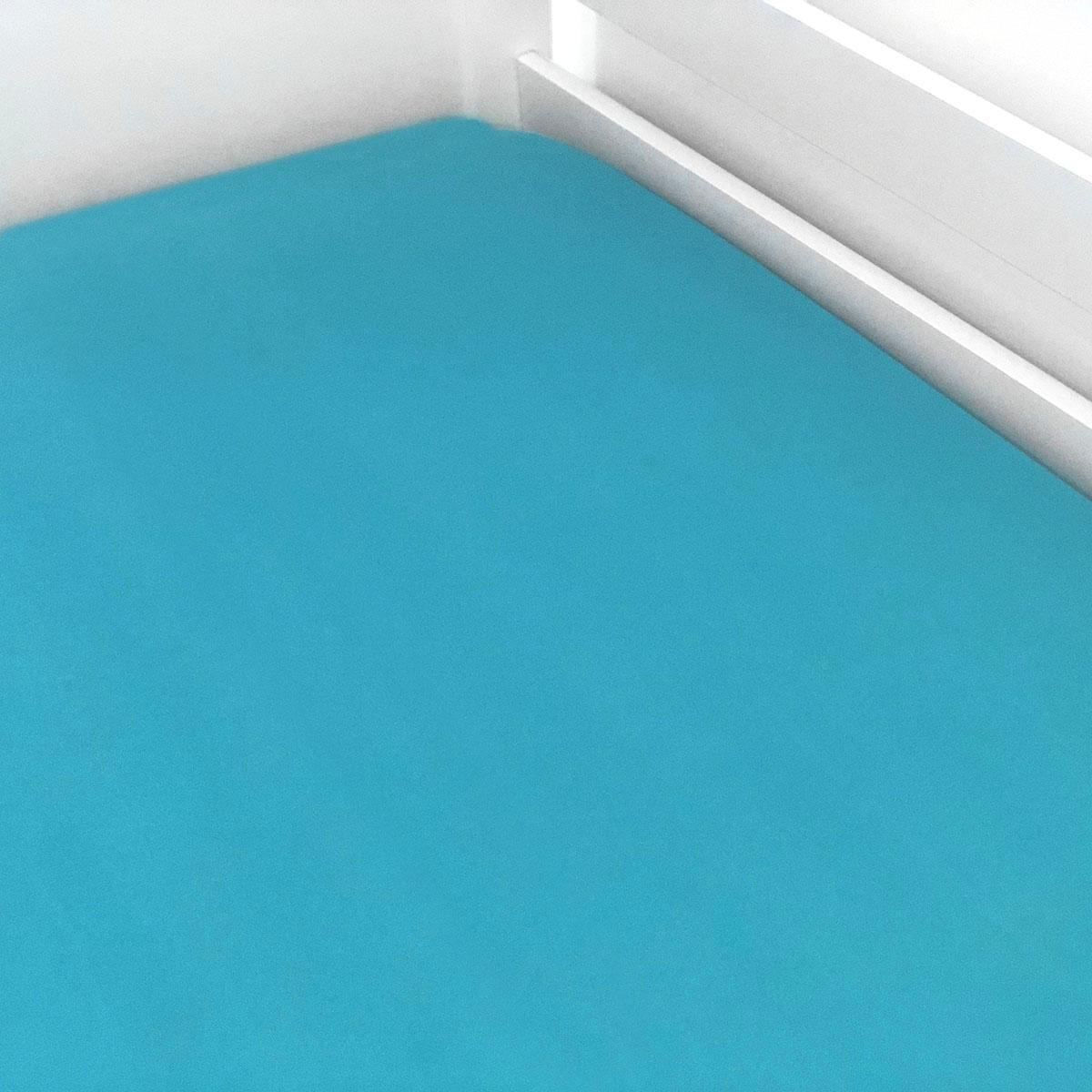Lençol De Elástico Azul Liso Turquesa