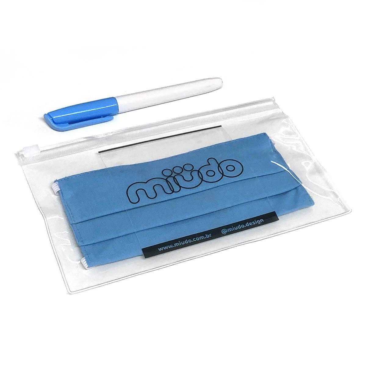 Kit 3 Máscaras Infantis Reguláveis Azul Piscina