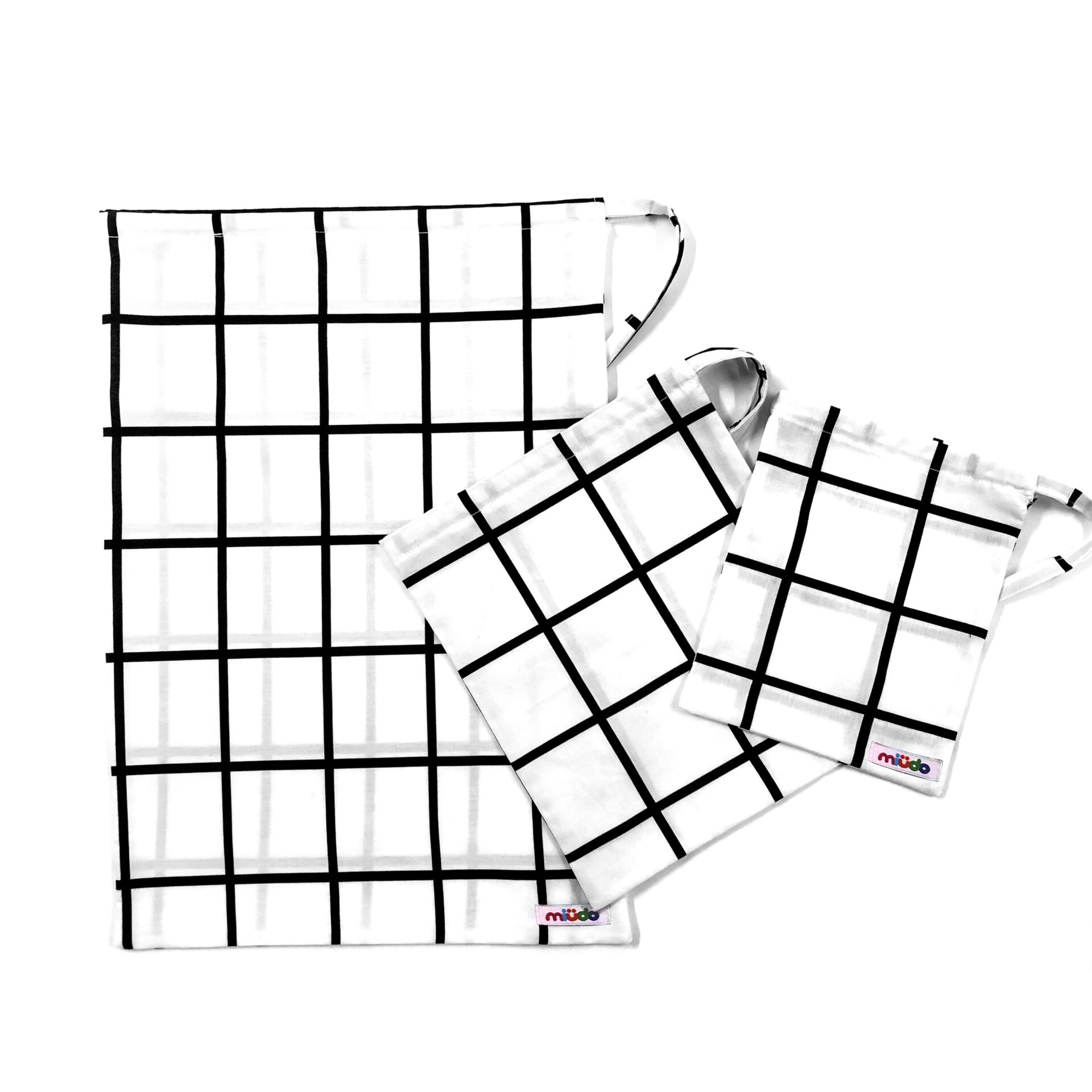 Kit Sacos Multiuso Quadriculado GRID Preto E Branco