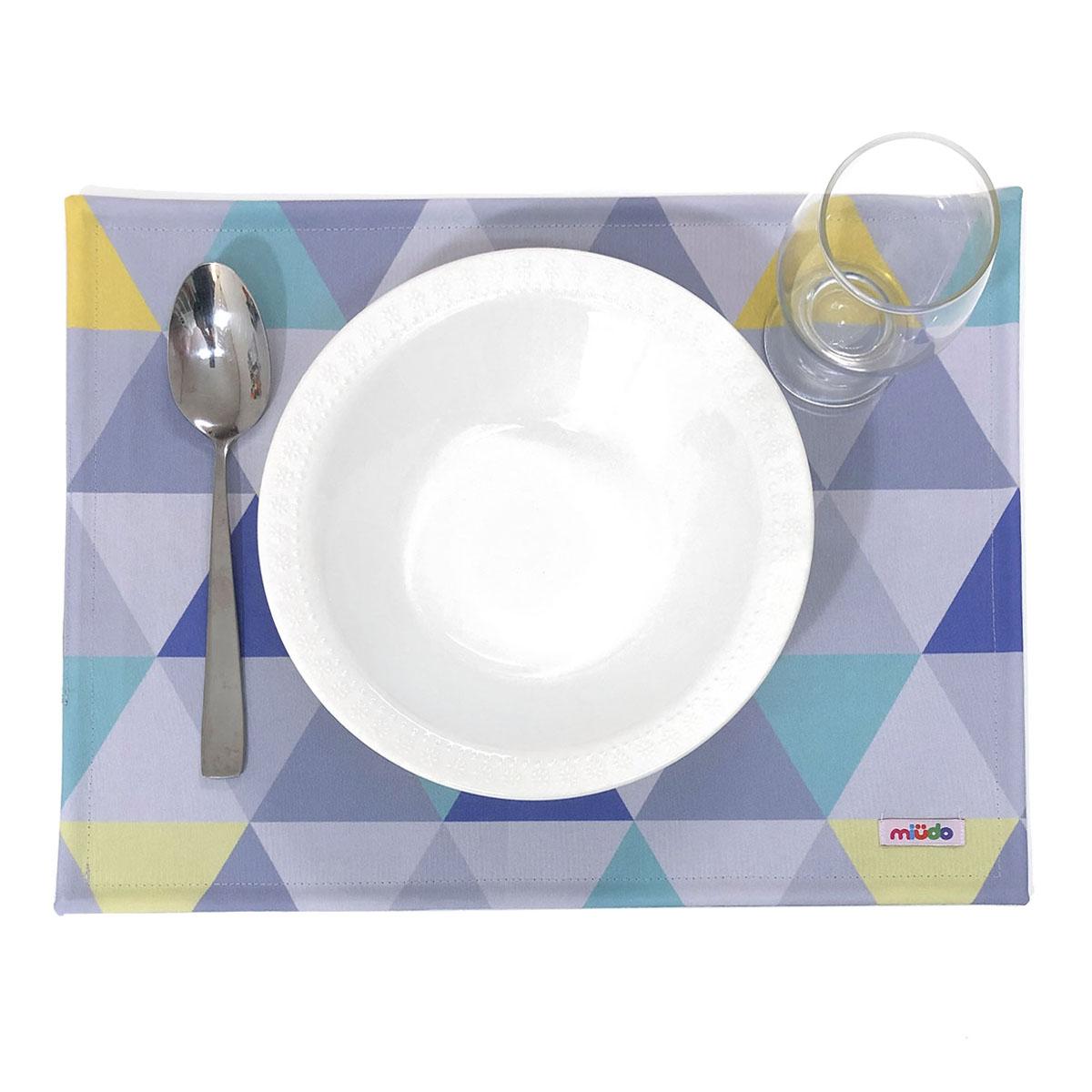 Jogo Americano Triângulos Cinza, Amarelo E Azul